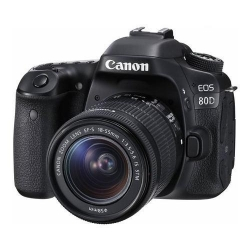 Camera foto DSLR Canon EOS 80D, 24.2MP, Black + Obiectiv EF-S 18-55mm IS STM