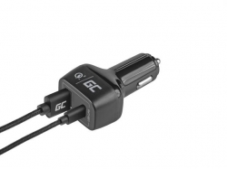 Green Cell In-Car Charger with USB-C Power Delivery + USB Quick Charge 3.0