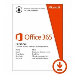 Microsoft Office 365 Personal 1 an, 1 PC/MAC si 1 tableta, All Languages, ESD