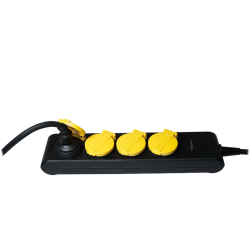 Prelungitor Logilink LPS212 waterproof, 4x Schuko, 1.4m, Black-Yellow