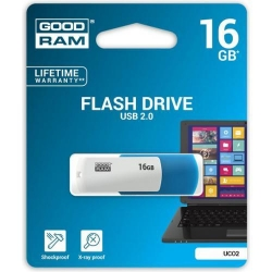 Stick memorie Goodram UCO2, 16GB, USB 2.0, Blue-White